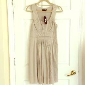 Bcbg maxazria cotton khaki dress 4 pleats